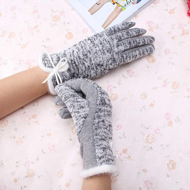 New Brand Women's Winter Coon Wool Gloves Elegant Warm White Plush Bow Glove Miens Cashmere Mitaine Guantes