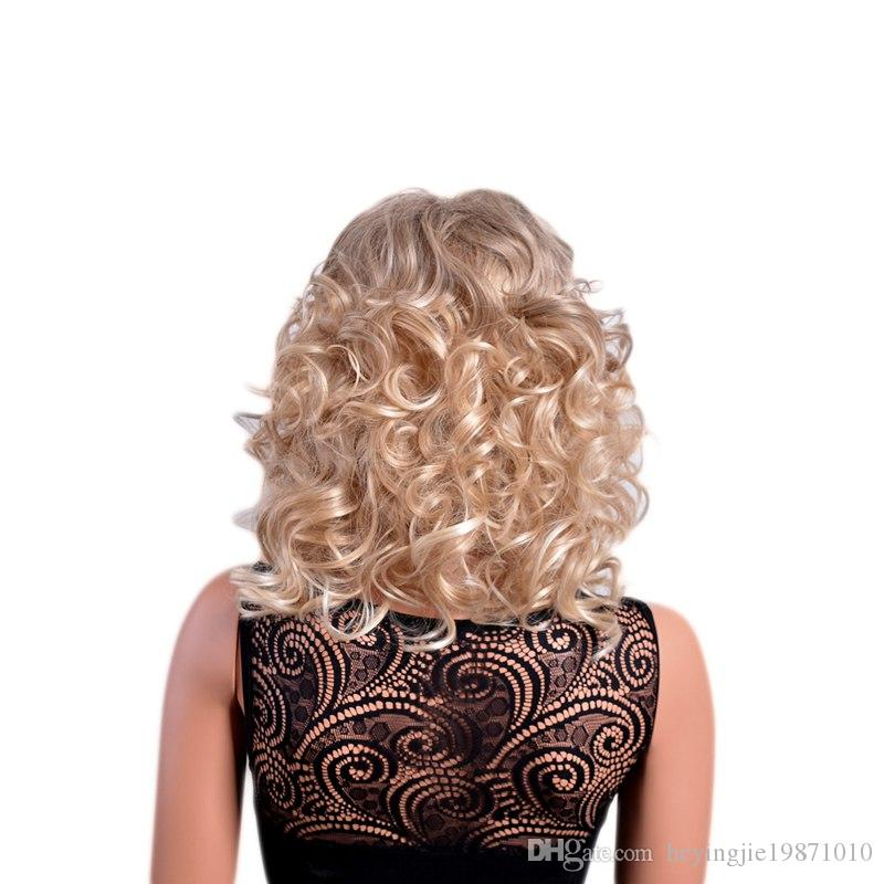 Xiu Zhi Mei 14 Inches Medium Ombre Curly Wigs with Bangs Mix Color American Afro Synthetic Wig for Women Heat Resistant