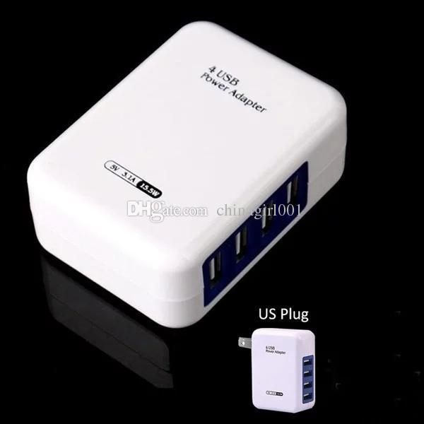 5V 3.1A 4 USB 포트 미국 EU 벽 충전기 홈 여행 충전기 어댑터 아이폰 6 6 7 Plus 아이폰 안드로이드 전화