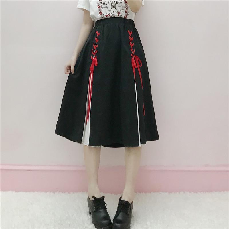 d017c1a78 Japanese Retro Mid-calf Length Skirt, Women's Fashion Summer Wear, New High  Waist Casual Lace-up Skirt