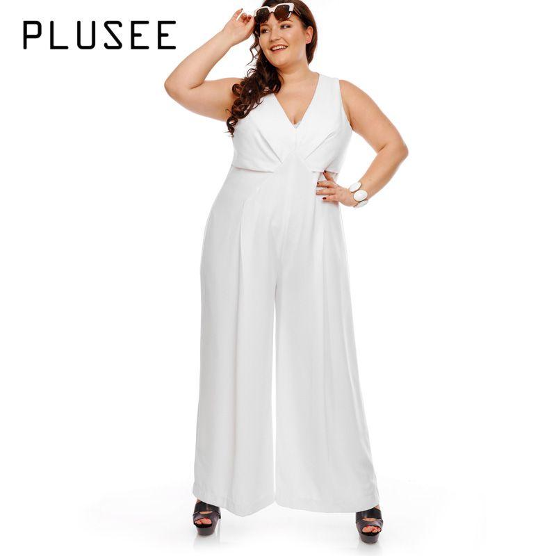 ca3872fa9dc 2019 Wholesale Big Size Wide Leg White Jumpsuit V Neck Sleeveless Women  Jumpsuits 2017 OL Elegant Empire Summer Jumpsuit Plus Size From  Clothesg202