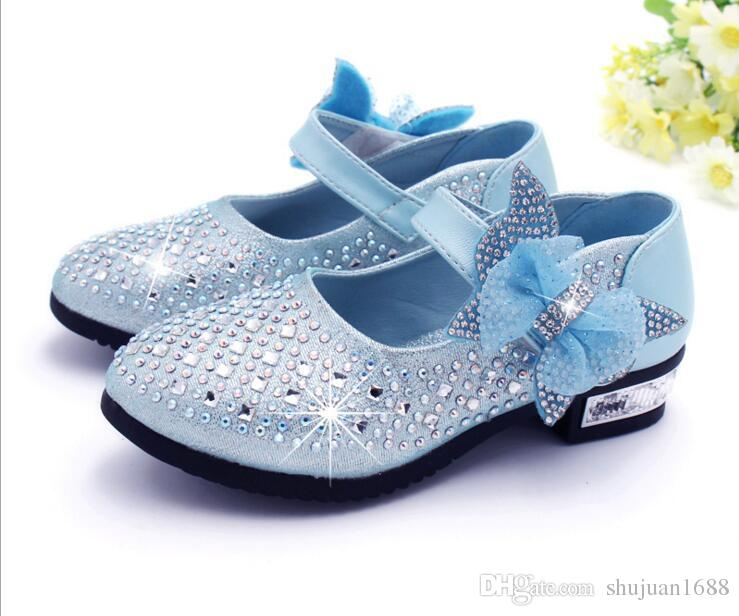 249e88457d Girls leather Shoes Children Rhinestone Glitter Kids leather Shoes Princess  Girls Sandals Toddler Big Girls Wedding Party Shoes