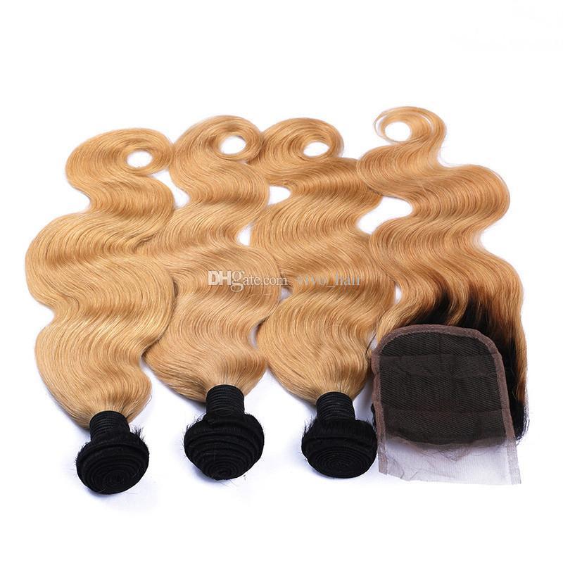 Two Tone 1B / 27 Blonde Ombre vague de corps Bundles cheveux avec dentelle fermeture Honey Blonde Ombre brésilienne de cheveux humains Weave et fermeture