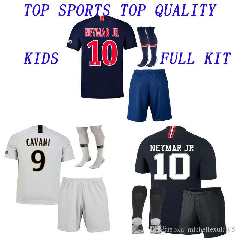 best website ecb68 4931b Kids 18 19 Neymar Jr Soccer Jersey Shorts Socks 2018 2019 Children Thai  Quality Football Kits MBAPPE Verratti Cavani Football Jersey Pants