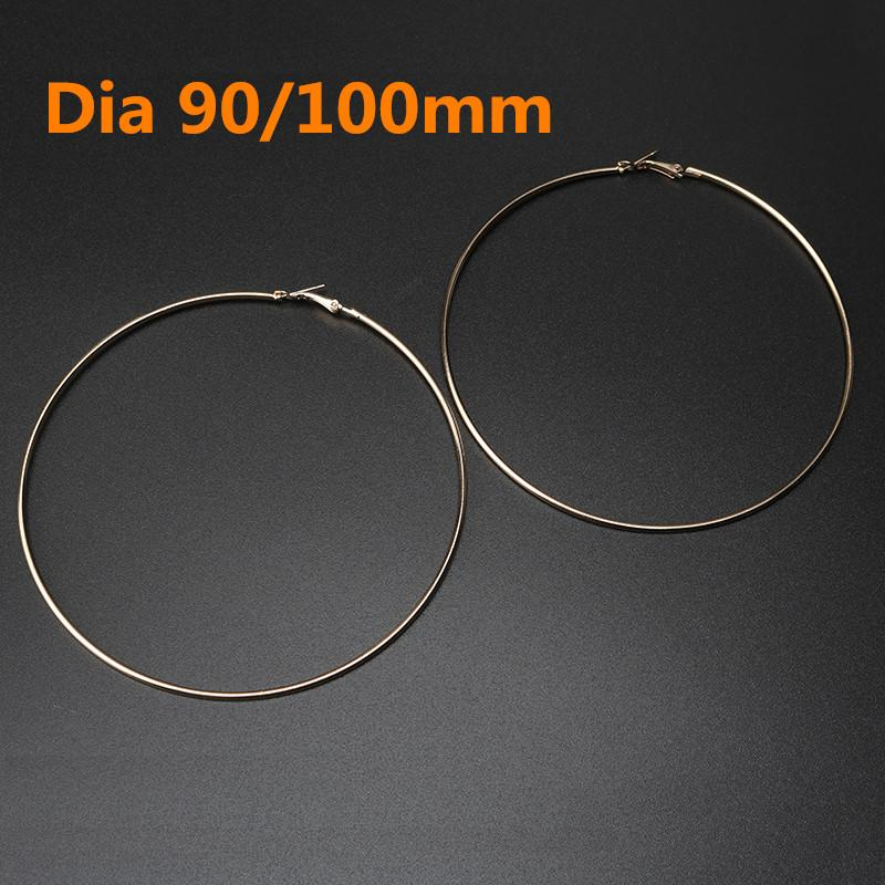 140f90afa 2019 90mm 100mm Fashion Large Big Circles Hoop Earrings For Women Gold/ Silver Color Metal Earrings Statement Jewelry Bijoux From Goodwatchgood, ...