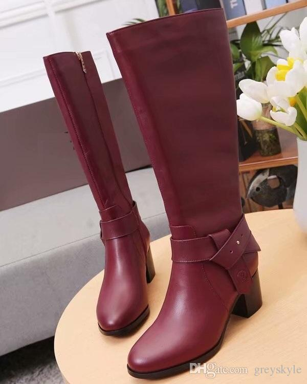 3afbce727d07 Brand Women Cow Leather Zipper Knee High Knight Boots Fashion Metal Buckle  Rain Boots Motorcycle Desert Boots Winter Snow Boots