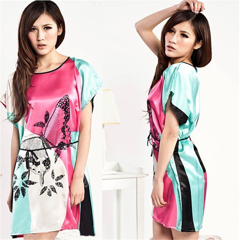 New Women Faux Silk Butterfly Pattern Sleepwear Gown Dress Sleepshirts Robe Women