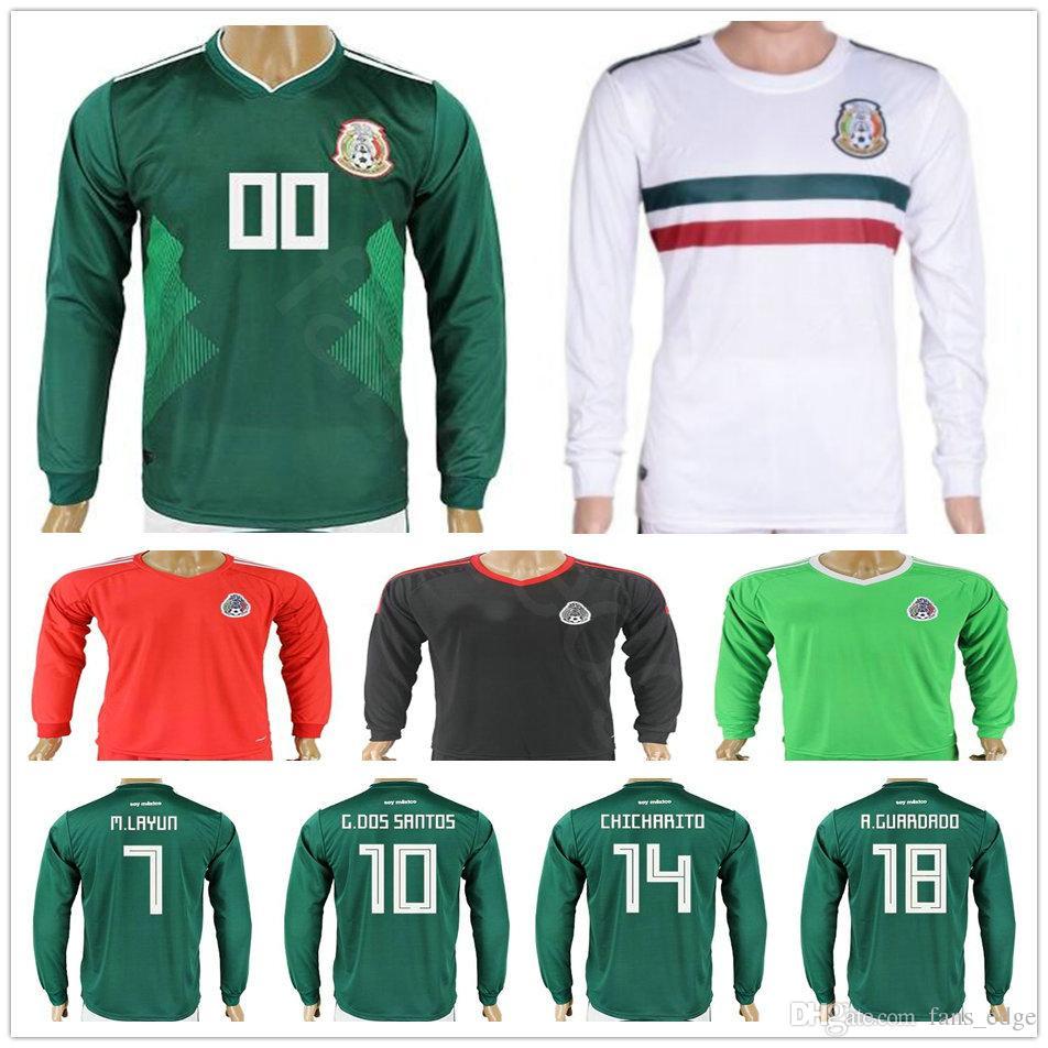 826510019 2019 2018 World Cup Mexico Long Sleeve Football Jerseys 10 G.DOS SANTOS 14  CHICHARITO M.LAYUN O.PERALTA Custom Green White Soccer Shirt From  Fans edge