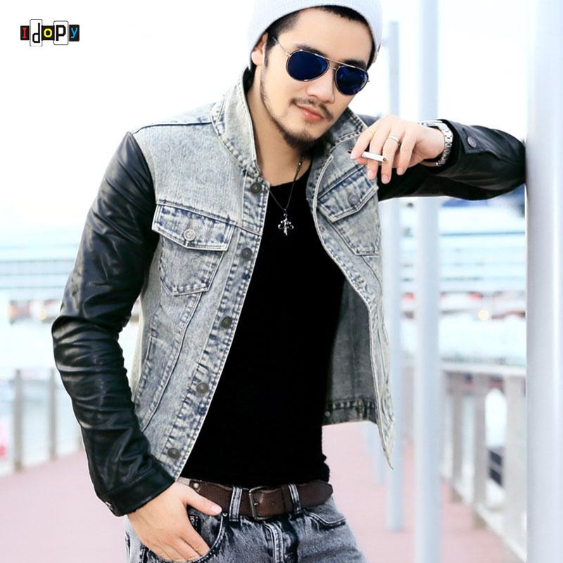c3e73b7ef Fashion Men`s Denim Jacket With Leather Sleeves Slim Fit Vintage Patchwork Acid  Washed Jean Jacket For Men Coat Jacket Men Mens Jackets Styles From  Alberty, ...