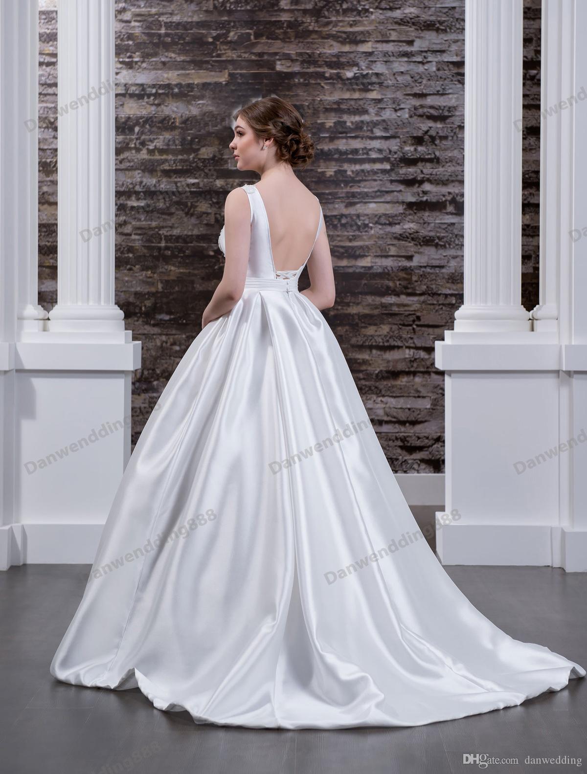 Charming White Satin Backless Applique Beads A-Line Wedding Dresses Bridal Pageant Dresses Wedding Attire Dresses Custom Size 2-16 ZW608065