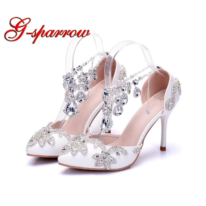 0c903aa8c White Pointed Toe Wedding Formal Dress Shoes with Silver Rhinestone Ankle  Straps Stiletto High Heels Performance Dancing Shoes Online with   136.37 Pair on ...