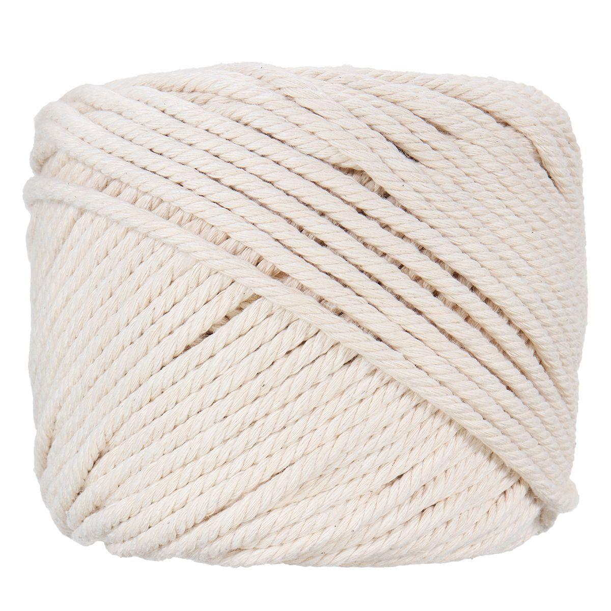 e0665b91403e Durable 6mmx50m Decoraciones Hechas A Mano Blanco Natural Macrame Algodón  Cuerda de Cuerda Trenzada DIY Textiles Para El Hogar para el Arte