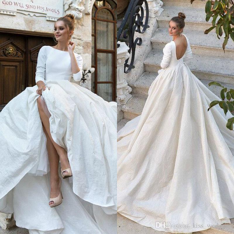 Elegant Womens A Line Satin Wedding Dress 3 4 Long Sleeves Backless Country Wedding Gown Sweep Train Robe De Mariee Boho Bridal Gowns