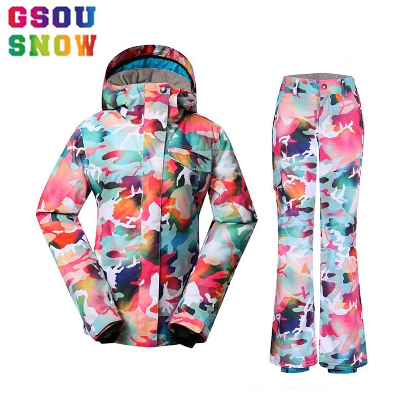 105573098d 2019 Gsou Snow 2017 Winter Women S Ski Suits Cheap Camouflage Snowboard  Sets Outdoor Camo Snow Jacket Warmth Pants Colorful Ski Suits From Cbaoyu