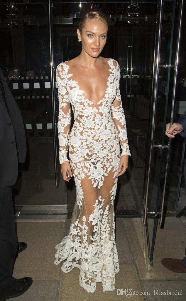 Seksi Moda Beyaz Dantel ve Tül Akşam Parti Elbise Derin V Yaka Mermaid Balo Elbisesi Gelin Parti Elbise See Through