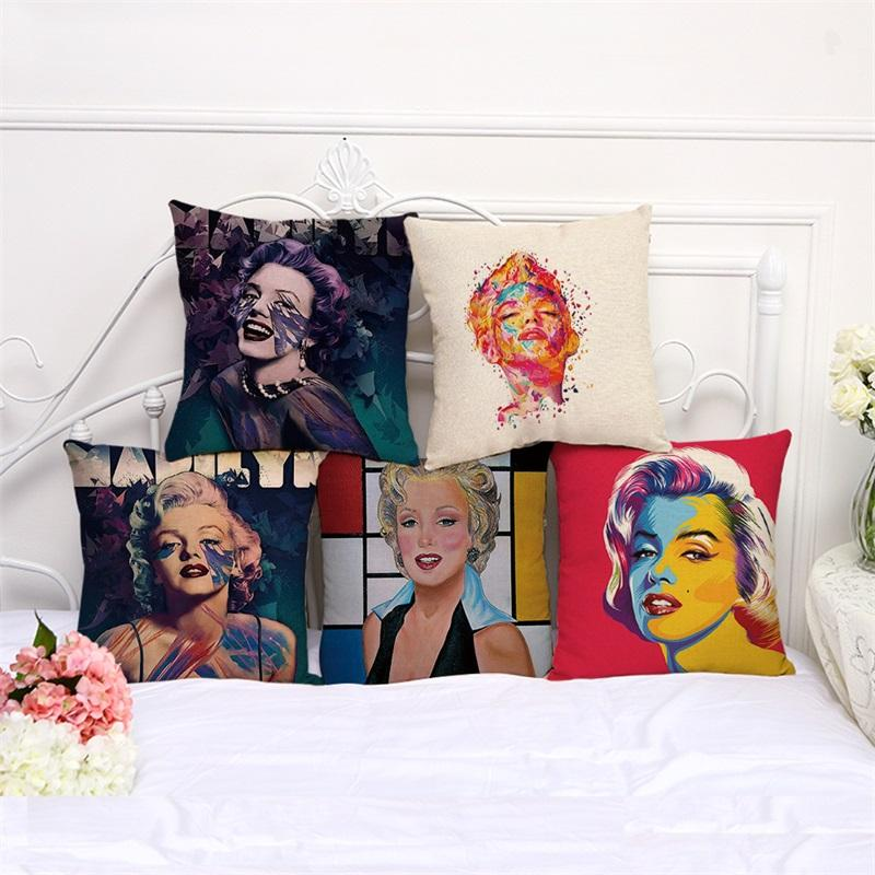 New Coloured Drawing Star Monroe Cushion Cover Cotton And Linen Car Sofa Pillow Case Window Decoration Decorative Throw Pillows 8myb gg