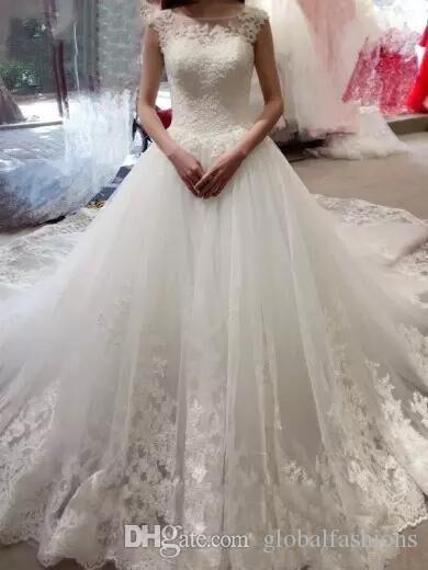 Elegant Court Train Wedding Dresses 2018 Hot Seller Full Lace A line Jewel Hollow Back Bridal Gowns