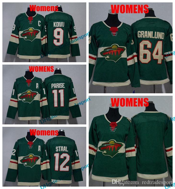size 40 ede45 b7c68 2018 Womens Minnesota Wild Hockey Jerseys Ladies 11 Zach Parise 9 Mikko  Koivu 64 Mikael Granlund 12 Eric Staal Girls Stitched Jersey