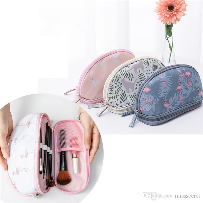 New Multifunction Flamingo Makeup Bag Double Layer Waterproof Travel Cosmetic Bags High Quality Storage Bag Organizer