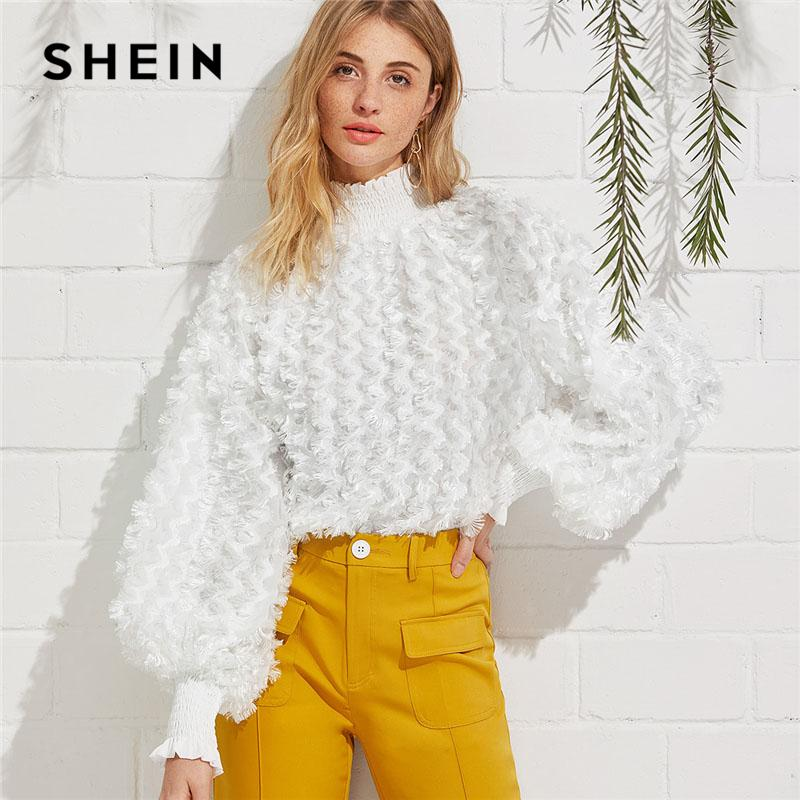 4575f62049d91 2019 SHEIN White Smocked Neck Allover Fringe Plain Top Women High Neck  Lantern Sleeve Party Blouse 2018 Spring Casual Blouse From Hiem