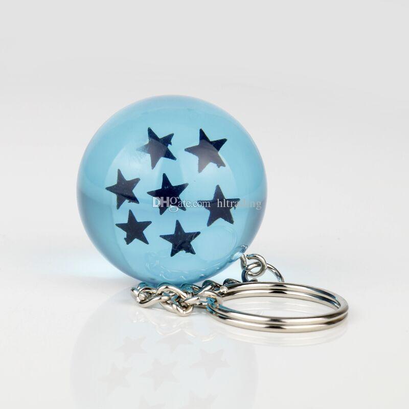 3.4 cm Dragon Ball 7 Stelle Sfere di cristallo resina blu Figure Giocattoli portachiavi Ciondolo 1 2 3 4 5 6 7 stelle giocattolo C4128
