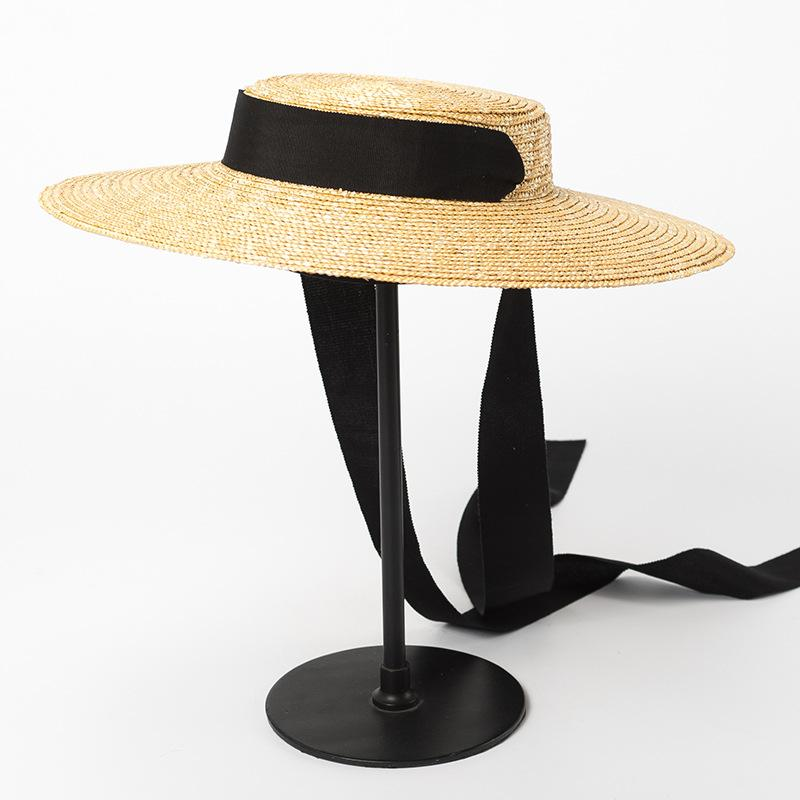 55b64bba936 Boater Hat Summer Beach Sun Hat for Women 2018 Ladies Wheat Straw ...