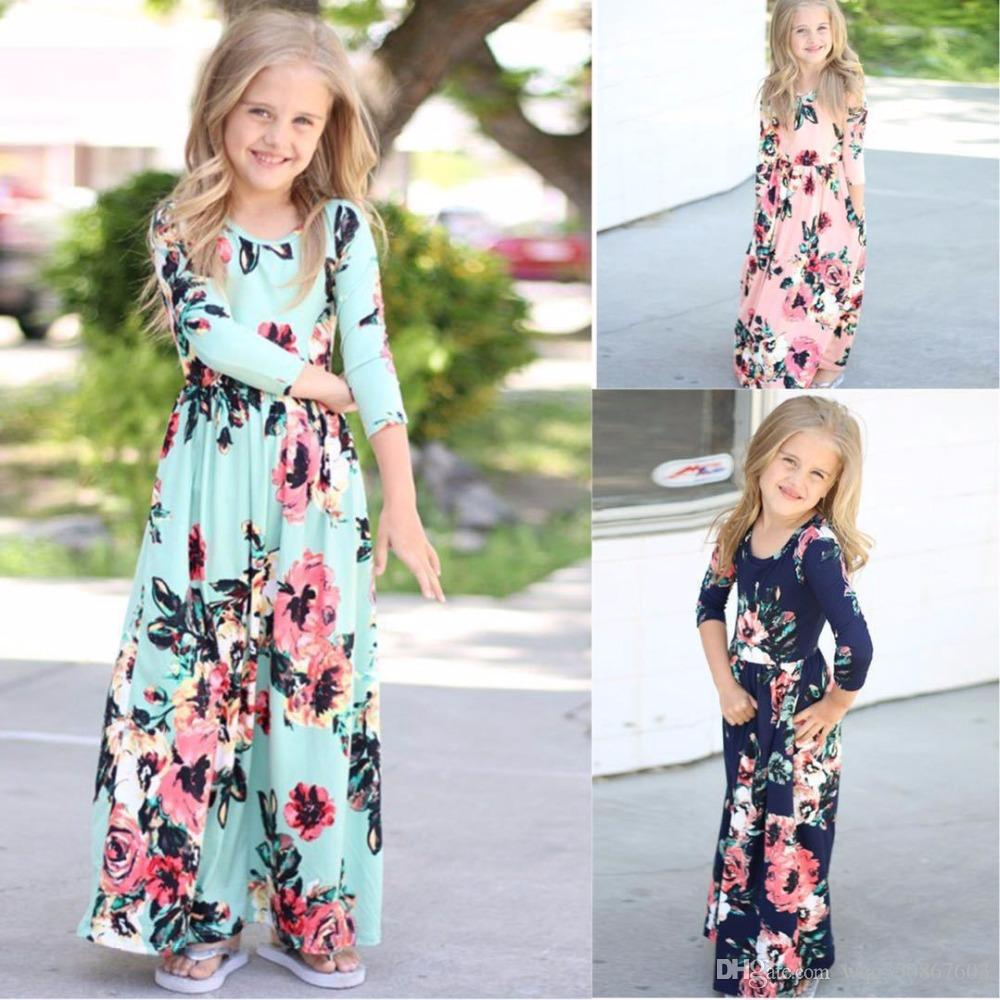 7abef6798af 2019 New Girls Fashion Trend Bohemian Dress Beach Tunic Floral Autumn Maxi  Dresses Kids Party Tutu Princess Costume Flower Dresses From Wqc350867603,  ...