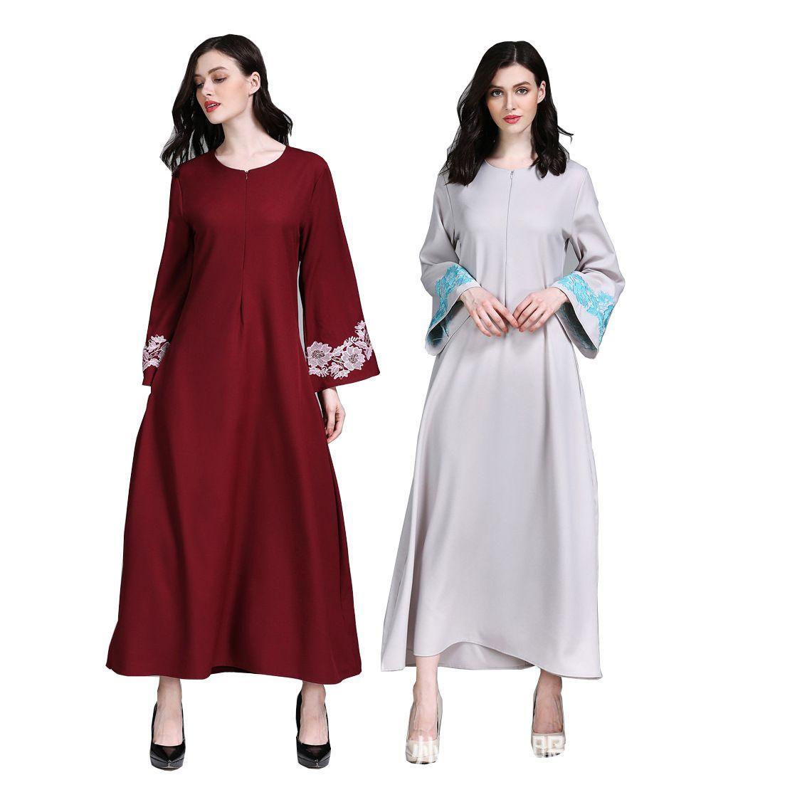 06bd0edfa8479 Women Dubai Abaya Muslim Dress Islamic Clothing Embroidery Ruffles Flare  Sleeve Arab Turkish Robes Front Zipper Musulmane Kaftan Sun Dresses Sale  Women ...