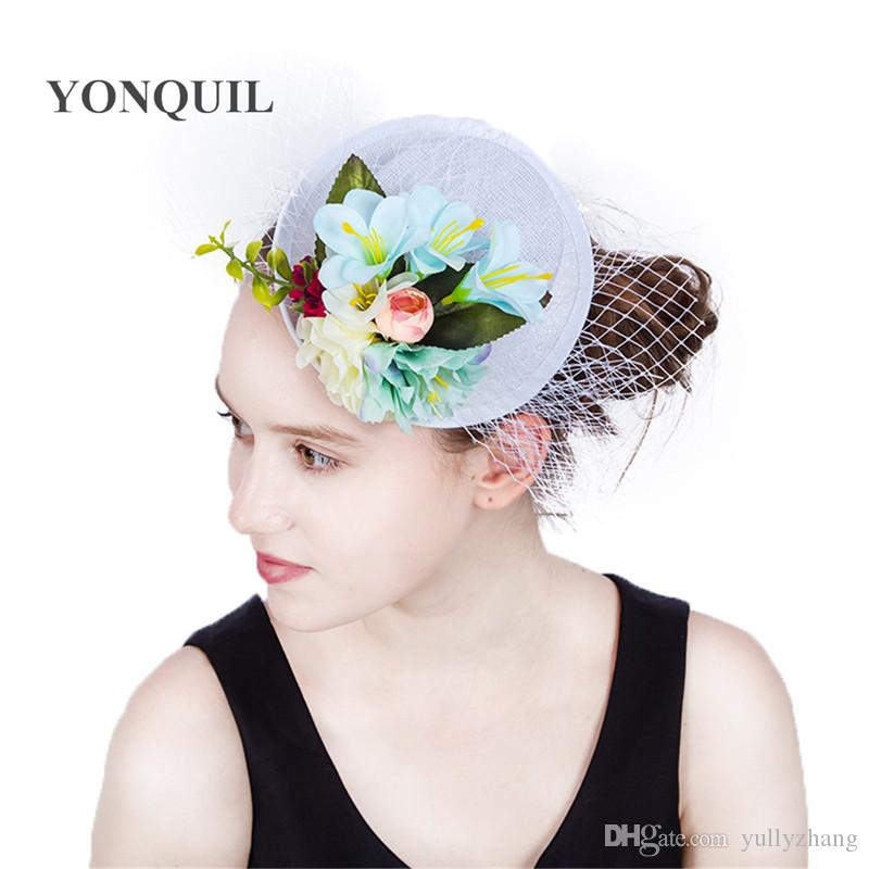 2017 New style 4Colors Lady Mini silk flower Top Hats Cap veils Fascinator Hair Clip Costume Hair Band Accessories wedding show party SYF204
