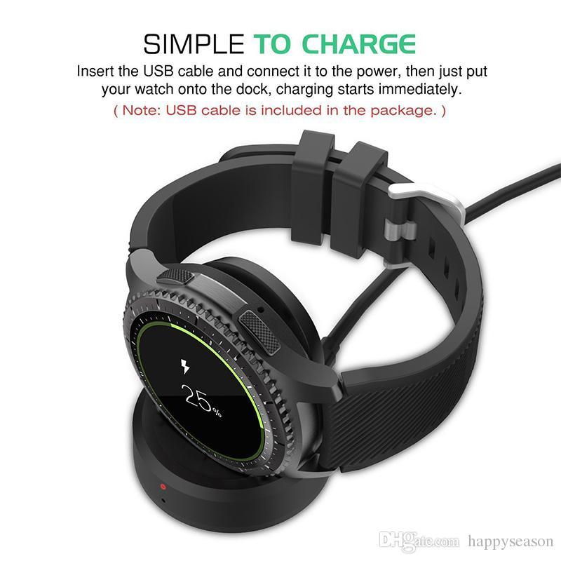 Caricatore senza fili della culla del bacino di carico l'orologio classico di Samsung Gear S3 con il pacchetto al minuto del cavo di alta qualità di 0.7m