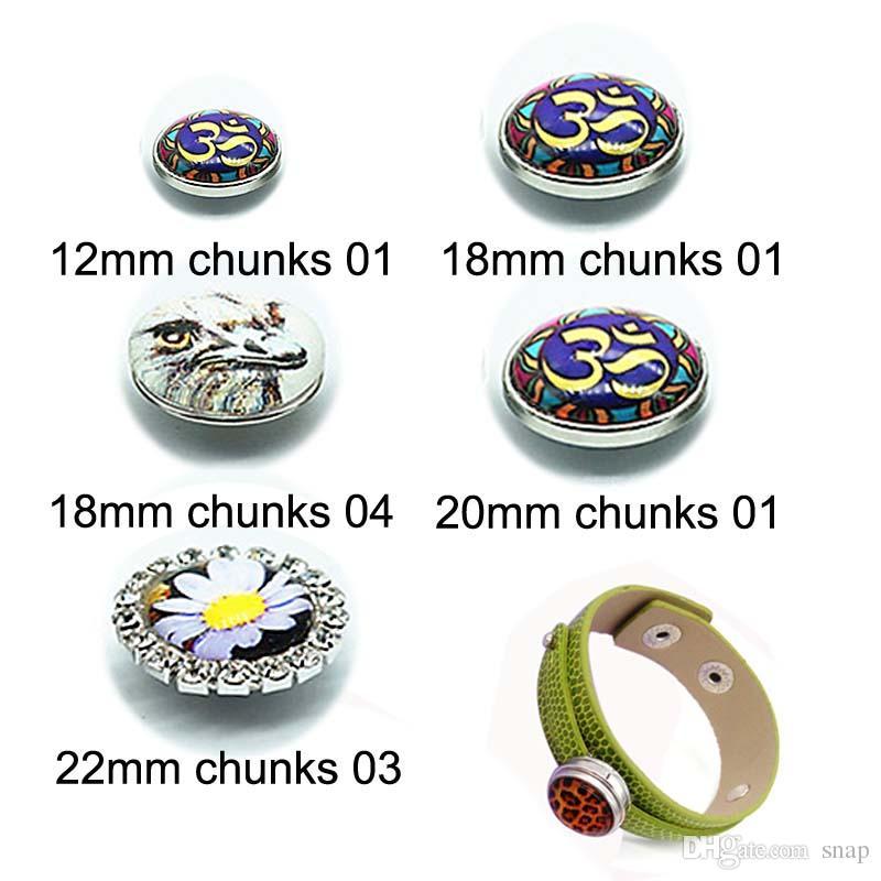 Nuevos Chunks 250 Venta Caliente 12mm 18mm Glass Snap Button Cabochon Para Mujeres Intercambiables Charm Pulsera Collar Accesorios de Joyería de regalo