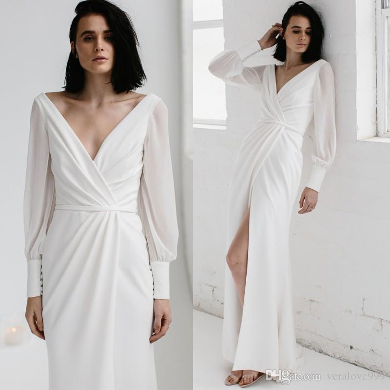 Newest White Wedding Dresses 2018 Arabic Dresses V Neck Floor Length ...