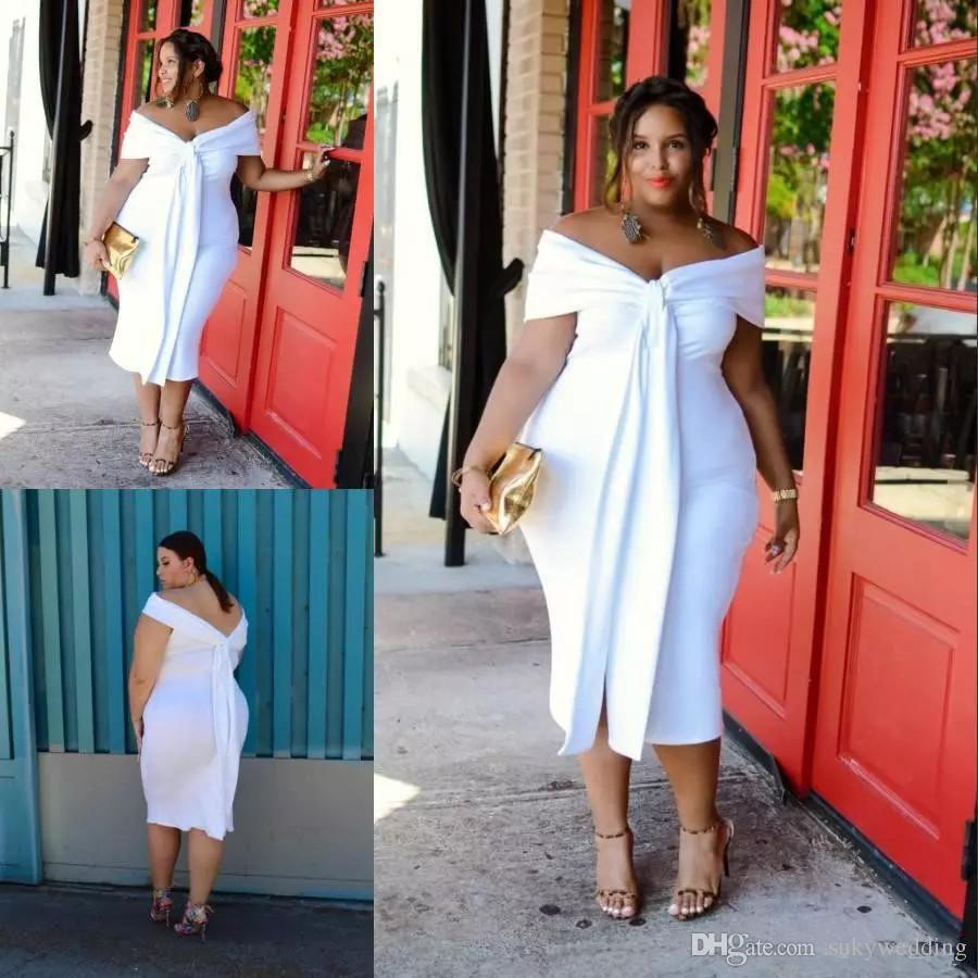 aa24caee3ed Elegant White Plus Size Prom Dresses Off The Shoulder Short Prom Gowns  Sleeves Cheap Tea Length Women Cocktail Formal Dress Custom Made  Inexpensive Plus ...