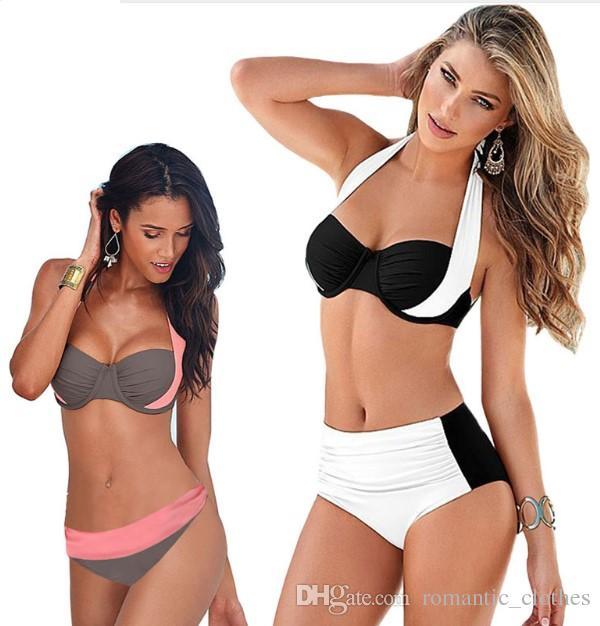 df01154553 2019 2018 New Sexy Bikinis Women Swimsuit High Waisted Bathing Suits Swim  Halter Push Up Bikini Set Plus Size Swimwear 3XL From Romantic_clothes, ...