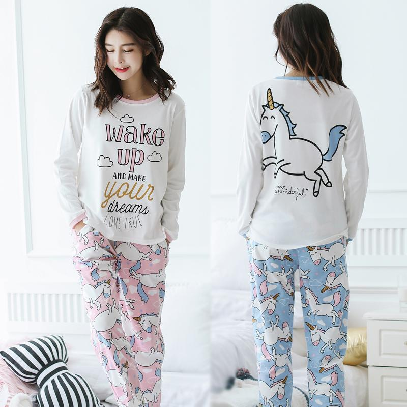 2019 Unicorn Pajamas Autumn Winter Women Cotton Pajama Sets Cartoon ELMO Home  Wear Suits Long Sleeves Pajamas For Women Sleepwear From Dengpeng520 48ae7815a