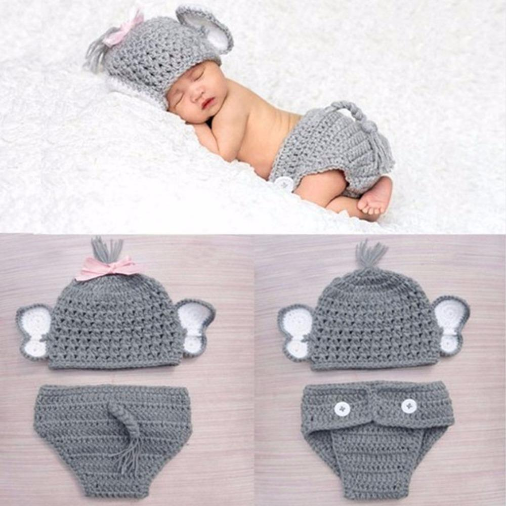 51d00e2a8c0 2019 Puseky Crochet Baby Elephant Costume Knitted Baby Hat And Diaper Pants  Set Newborn Animal Photography Props 2 Styles From Cassial