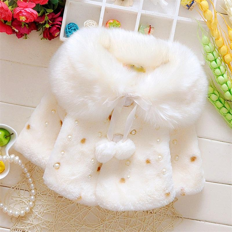 f9defba3f2ac Lovely Faux Fur Coats For Baby Girls Autumn Winter Black Dot ...