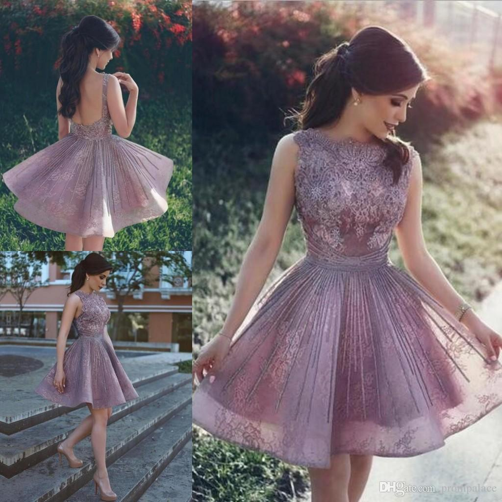 47d36dbfbd Elegant Short Homecoming Dresses Beaded A Line Lace Appliques Sweet 16 Prom  Gowns Sexy Backless Cheap Party Dresses Stores With Homecoming Dresses  Vintage ...