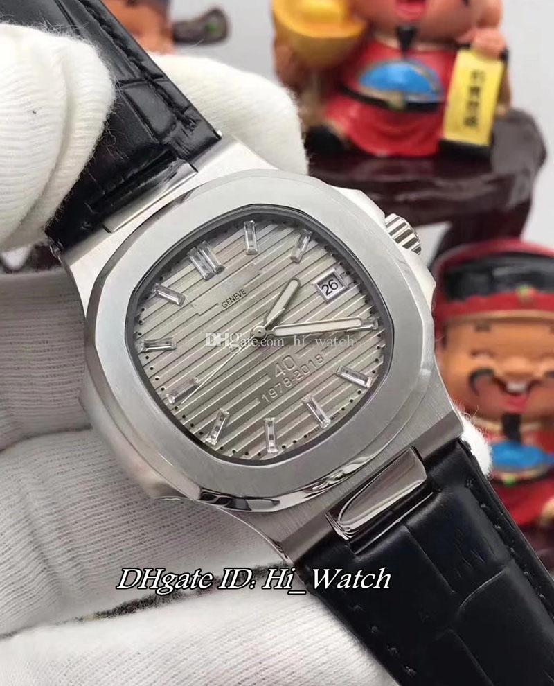 Nuevo Nautilus 5711 / 1P 40th Anniversary Limited Edition Caja de acero D-Gray Dial A2813 Reloj automático para hombre Black Leather Strap Relojes P289a1