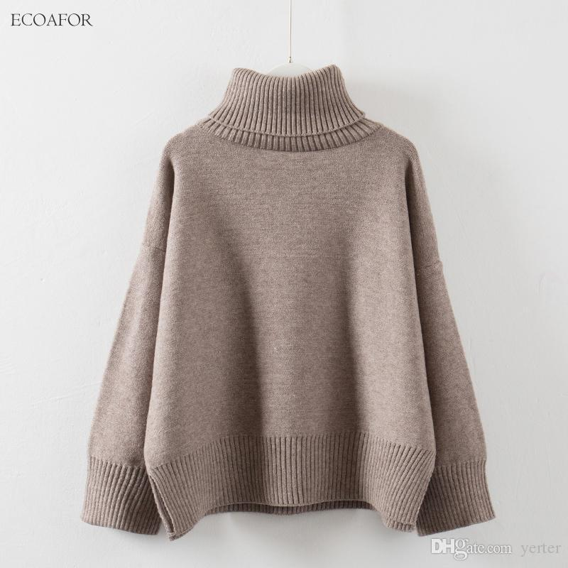 617b4a4e70 2019 Thick High Neck Sweater Women 2017 Winter Solid Warm Pullovers Side  Vent Slit Loose Jumper Female Oversize Turtleneck Sweater From Yerter