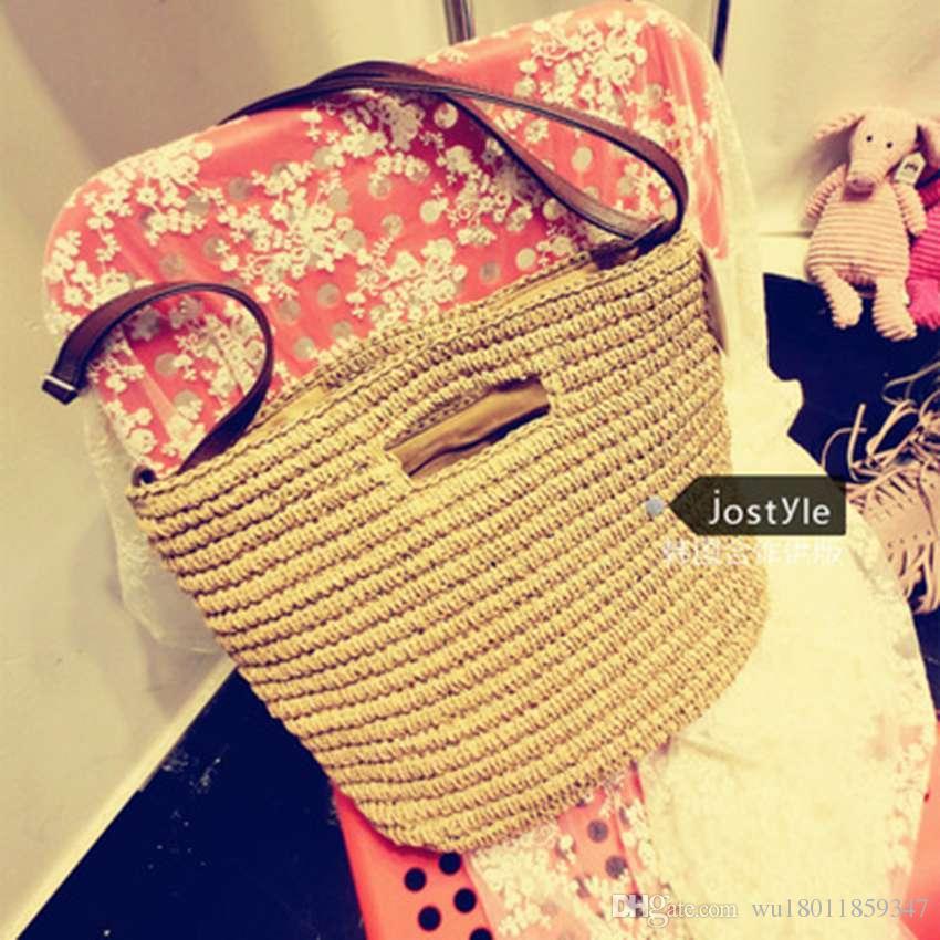College wind new shoulder Messenger three hand-woven bag temperament handbags Sen Department of summer vacation woven bag