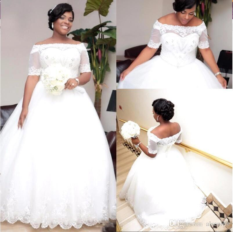 Plus Size Wedding Dresses 2018 Off The Shoulder Short Sleeves White ...