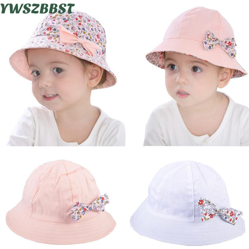 2019 Summer Baby Girls Sun Hat Coon Baby Hat Kids Child Cap Bowknot Flower  Print Bucket Double Sided Can Wear 2853af12384