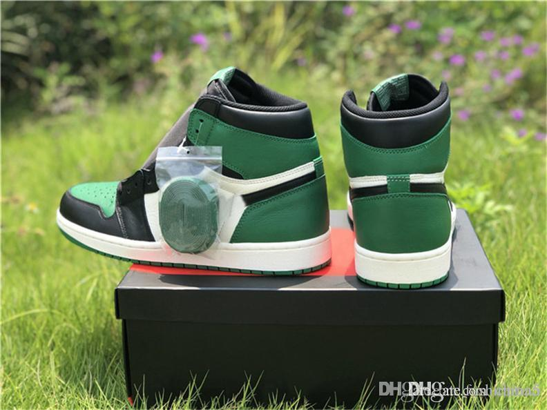 3fb7e9238e29 2019 2018 Hottest Release High OG 1 Pine Green 1s Court Purple 1s Man  Basketball Shoes Authentic Sports Sneakers With Original Box 555088 302 From  ...