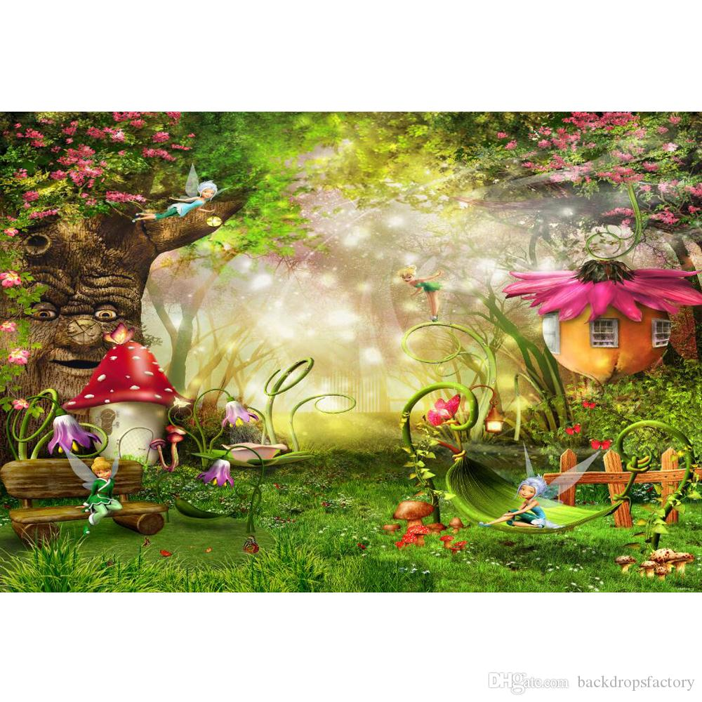aa3bd048f60 2019 Fairytale Wonderland Enchanted Forest Background Old Tree Mushroom  Flower Houses Fairies Princess Girl Birthday Party Backdrop From  Backdropsfactory
