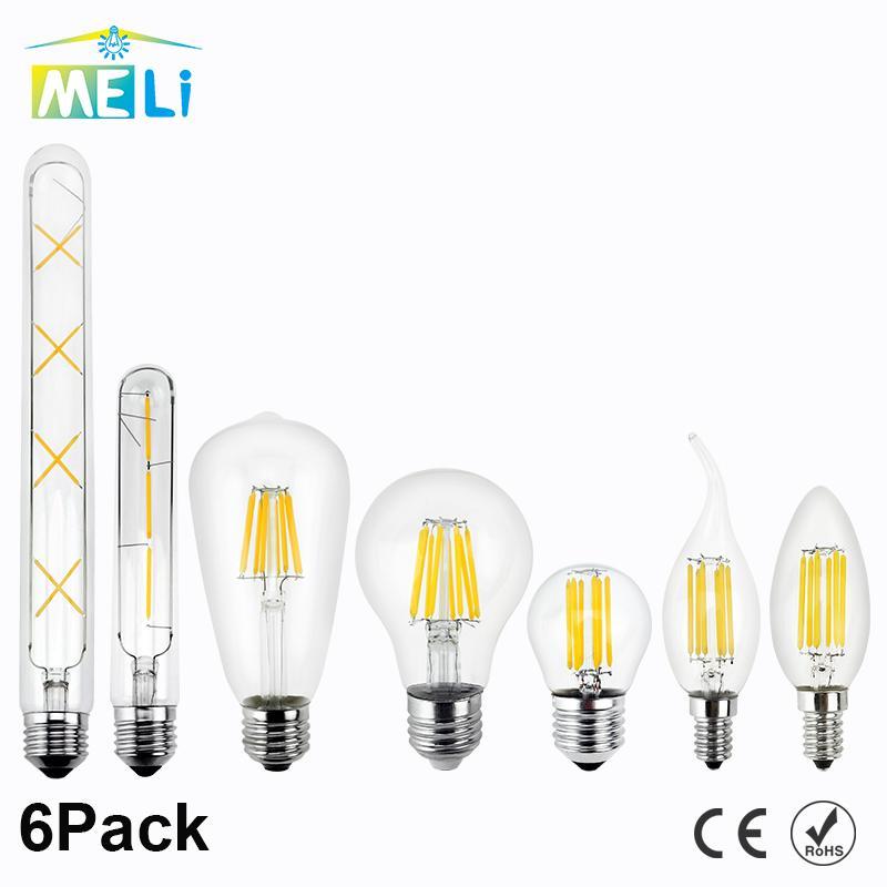 Lampe 220v Bougie Lumière Décorative E14 Vintage Filament Led En 4w 6w 8w Verre 2w Ampoule Spécialité Edison 6pcs E27 zMUVpSLGjq
