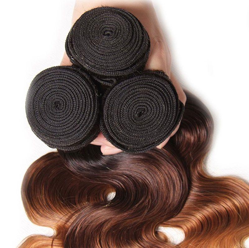 Brazilian Peruvian Malaysian Chinese 3 Bundles 100% Human Hair Body Wave 1B/4/27 Ombre Good Quality Virgin Hair Bundles From Fonearhair
