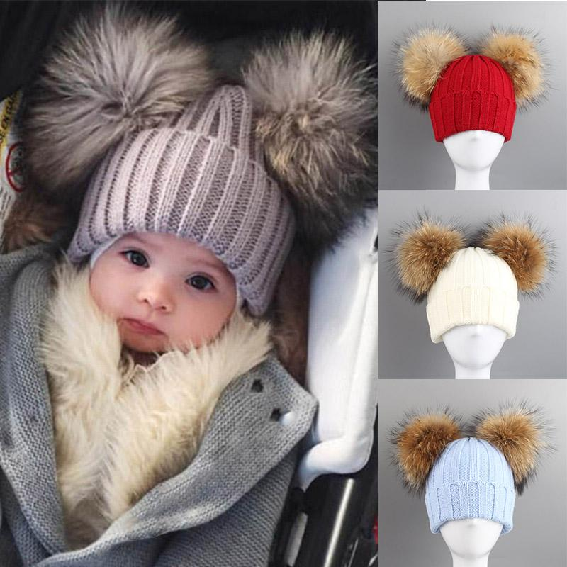 51a61837e35831 2019 Fashion Winter Children Knitted Hat With 2 Plush Balls Fur Pompoms  Keep Warm Cap Boys Girls Beanie Hats XRQ88 From Jaokui, $25.7 | DHgate.Com