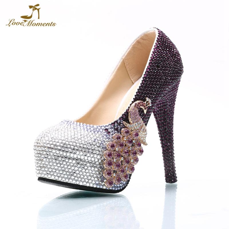 Plus Size Lady Party Prom Shoes Purple And Silver Mix Color Rhinestone  Wedding High Heels Bride Formal Dress Shoes Custom Made Cheap Shoes Online  Fashion ... c04bedffe5ce