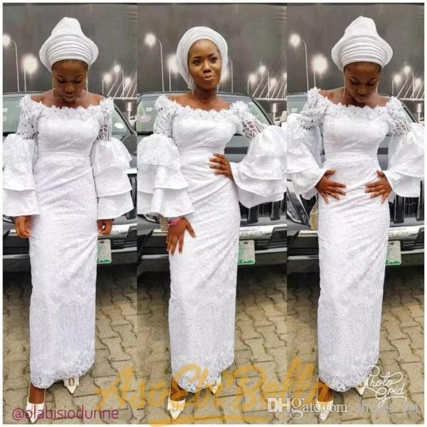 2018 nigerian lace styles prom dresses floral off the shoulder neckline sheath full length white lace long bell sleeves evening gowns